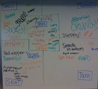 Notes on the board about their pieces of candy